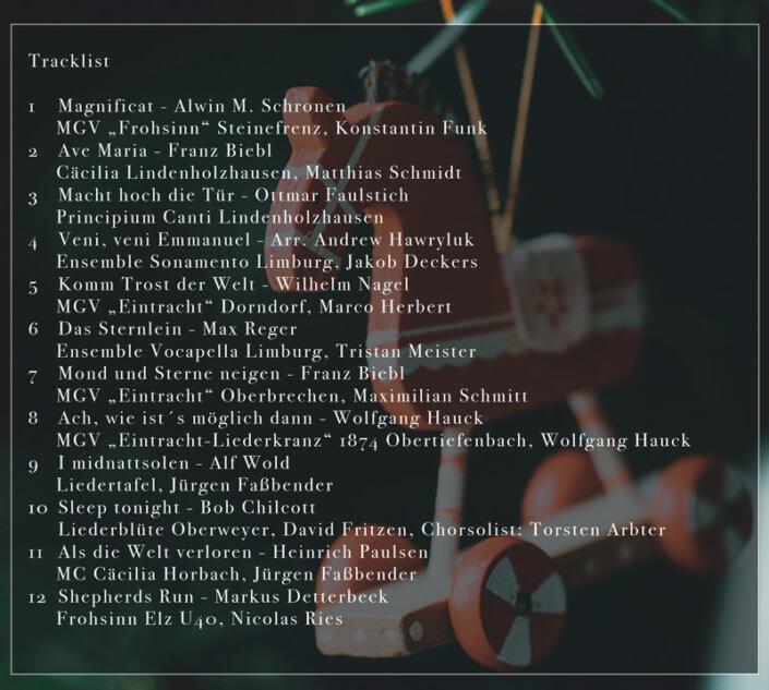 Der Männerchor Adventskalender – CD-Titelliste